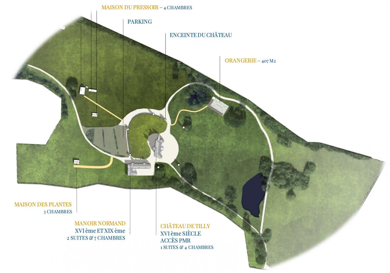Plan du domaine pour votre mariage au château de Tilly dans l'Eure en Normandie